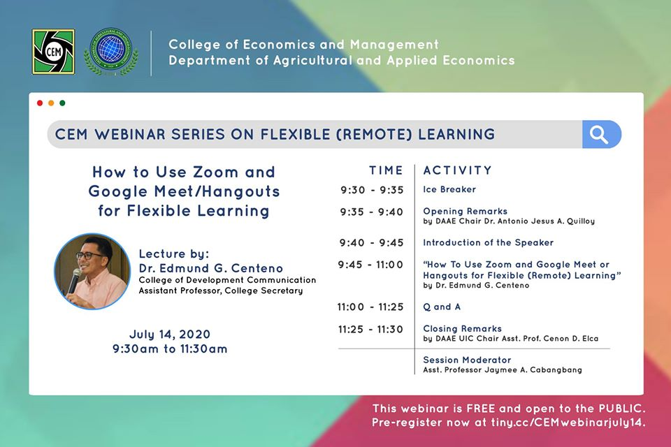"CEM Webinar on ""How to Use Zoom and Google Meet/Hangouts for Flexible Learning?"""