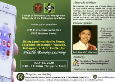 "CEM Webinar on ""Using Landline/Mobile Phone, Facebook Messenger, Youtube, Instagram, and/or Twitter for Flexible (Remote) Learning"""