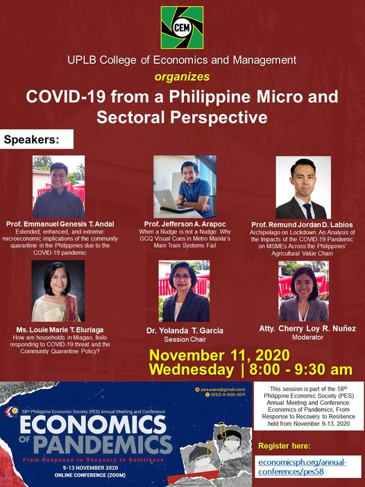 58th Philippine Economic Society (PES) Annual Meeting and Conference: Economics of Pandemics From Response to Recovery to Resilience