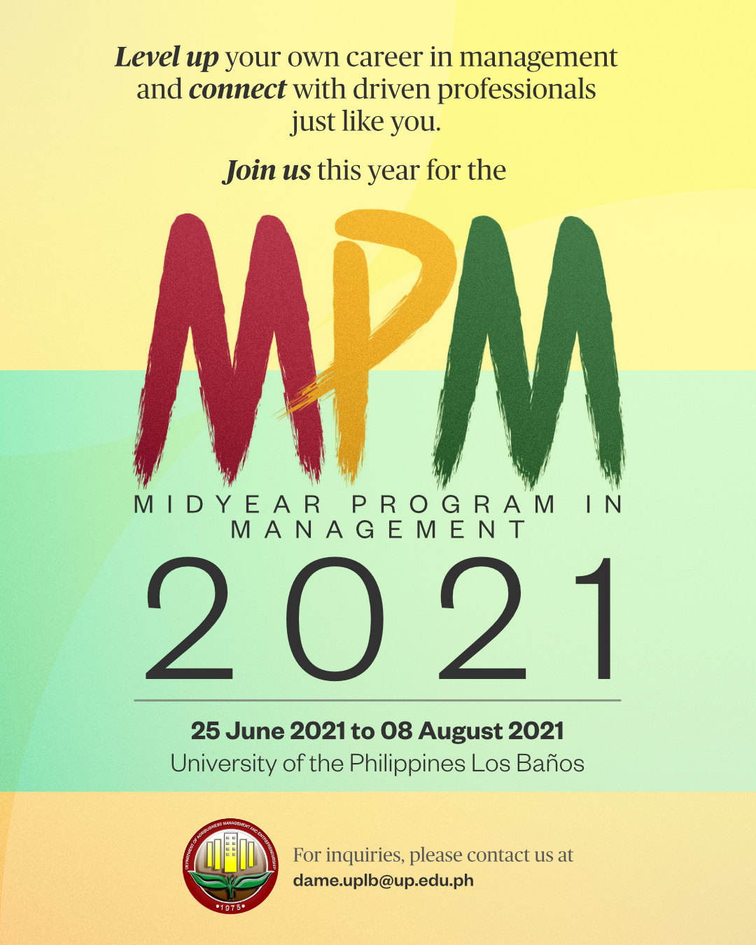 DAME to Offer Midyear Program in Management from June to August 2021